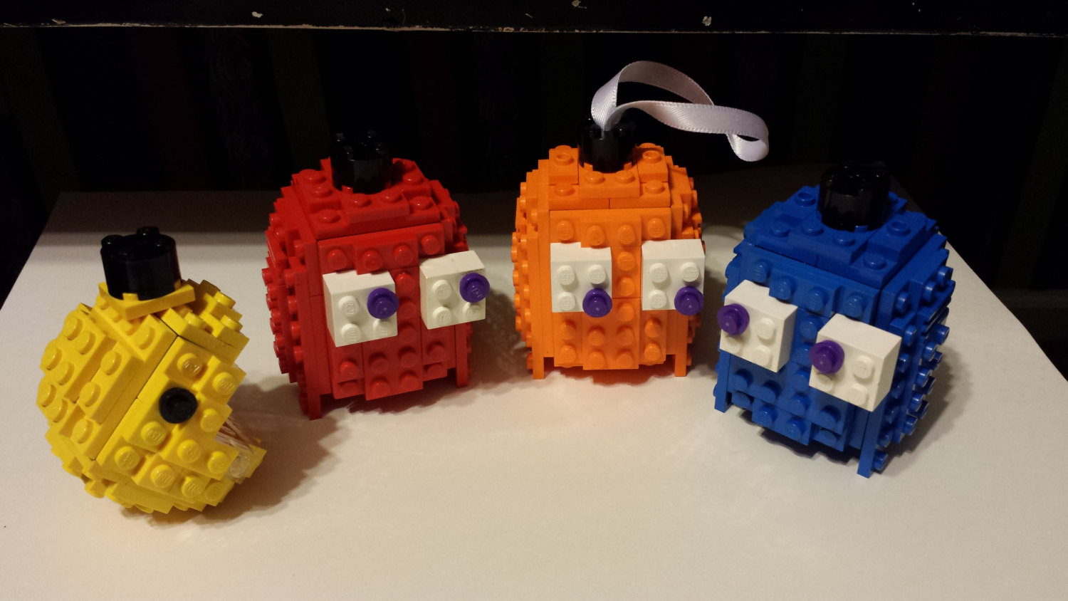 3D Building Block Pacman amd Ghosts Christmas Ornament Set