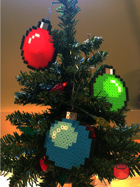 Christmas Bauble Pixel Bit Art Ornaments