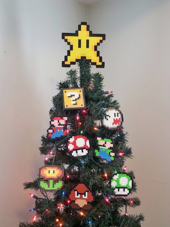 Original Super Mario Bros. Perler Bead Star Christmas Tree Topper and Ornament Set