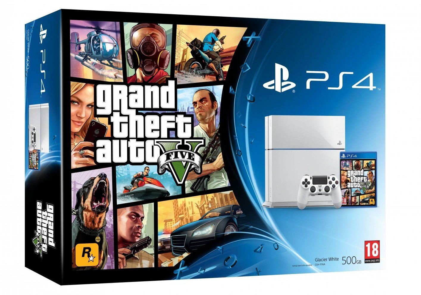 PlayStation 4 500 GB Grand Theft Auto V Bundle Glacier White